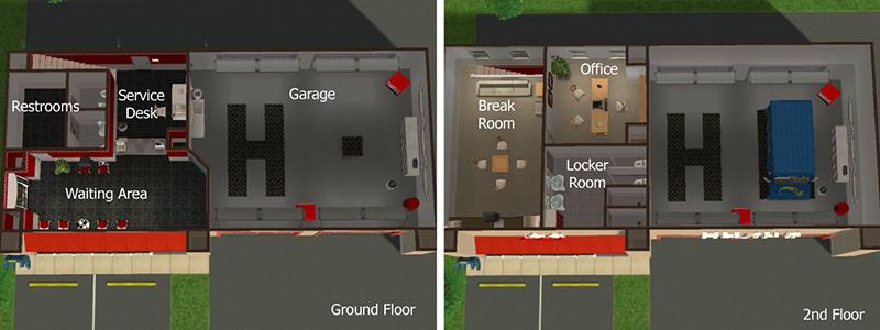 Sunni Designs for Sims 2 – Auto Repair Garage Floor Plans